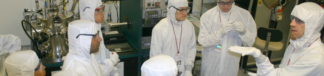 CNF staff member instructs TCN participants in the Clean Room